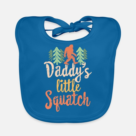 Natuur  Babykleding - Daddy's Little Squatch - Family Hiking T-shirt Bigfoot-cadeau - Slabbetje pauwblauw