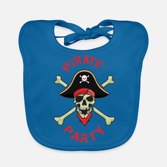 Pirate Baby Clothes - Pirate Party Skull And Bones - Baby Bib peacock-blue