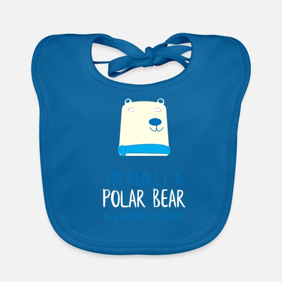 Man Baby Clothes - I'm Really a Polar Bear - Baby Bib peacock-blue