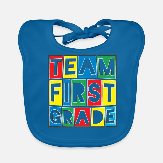 School Baby Clothes - Team First Grade - Baby Bib peacock-blue