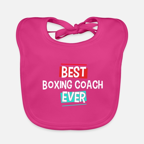 Birthday Baby Clothes - Best Boxing Coach Ever Boxer Gift - Baby Bib fuchsia