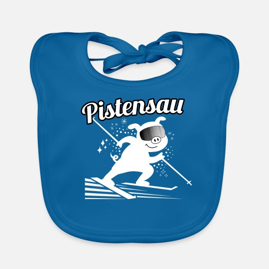 Winter Sports Baby Clothes - Pistensau - skiing, skiing, skiing, snow - Baby Bib peacock-blue