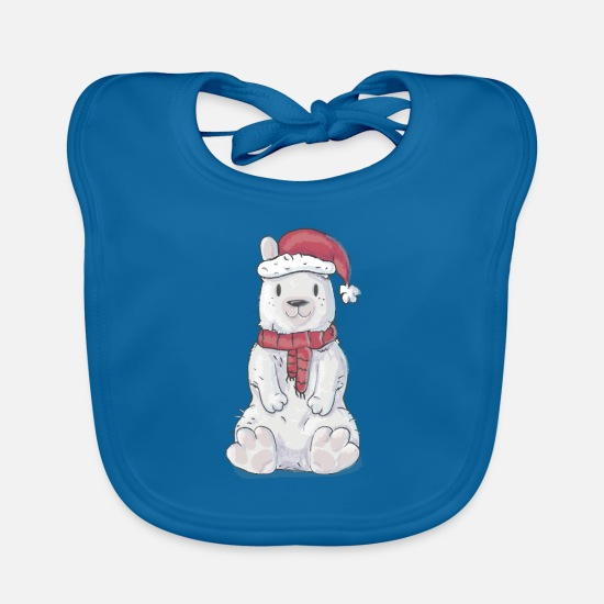 Knut Baby Clothes - Christmas winter bear - Baby Bib peacock-blue
