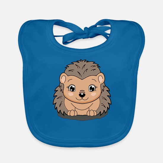 "For Kids Baby Clothes - lorey.w ""Hedgehog Ina"" - Baby Bib peacock-blue"