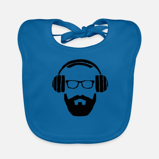 Gift Idea Baby Clothes - Hipster - headphones - Baby Bib peacock-blue