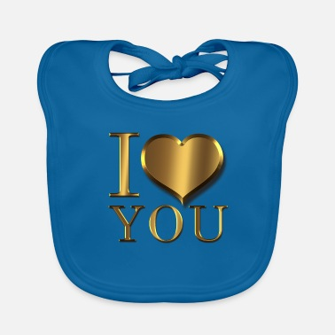 Renner Valentine's day I love you heart in gold - Baby Organic Bib