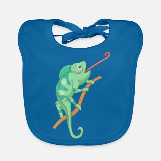 Gift Idea Baby Clothes - Green chameleon - Baby Bib peacock-blue