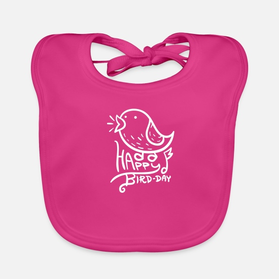 Happy Birthday Baby Clothes - Happy Bird Day | Happy Birthday | color - Baby Bib fuchsia