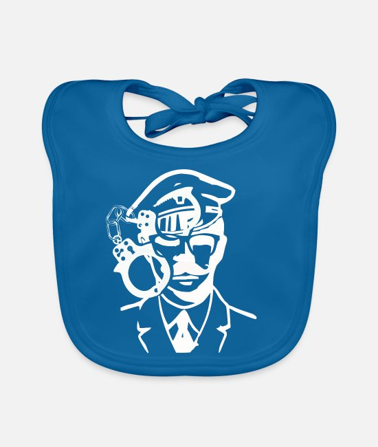 Strip Baby Bibs - Police. handcuffs - Baby Bib peacock-blue