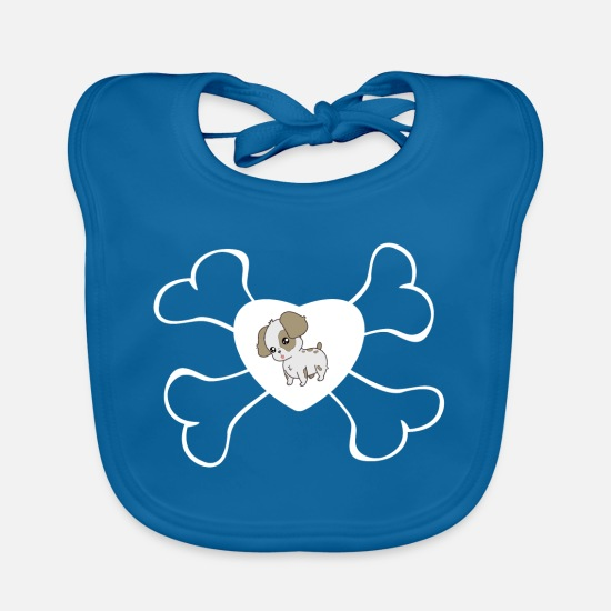 Love Baby Clothes - Dog loves dog bone cartoon cartoon - Baby Bib peacock-blue