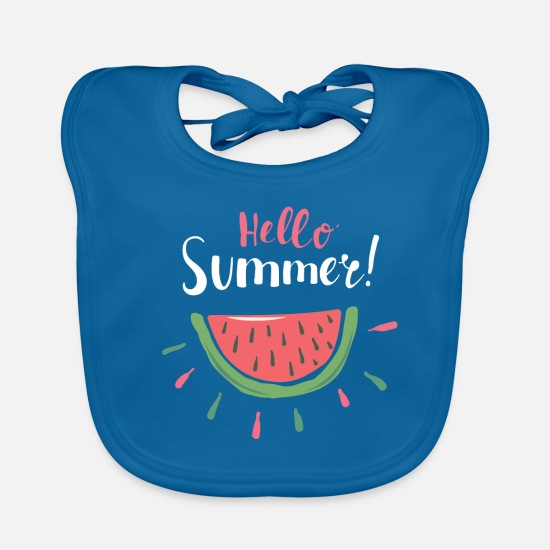Gift Idea Baby Clothes - Hello Summer Melon Summer Design Gift Cool - Baby Bib peacock-blue