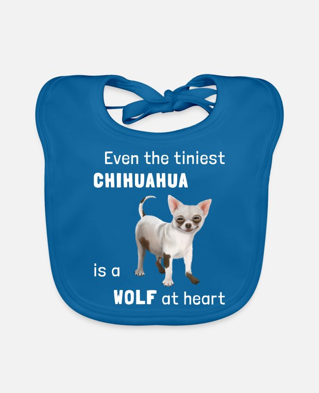 Female Dog Baby Bibs - Dog - Chihuahua a wolf at heart - Baby Bib peacock-blue