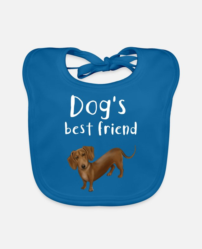 Dachshund Baby Bibs - Dachshund - the dog's best friend - Baby Bib peacock-blue