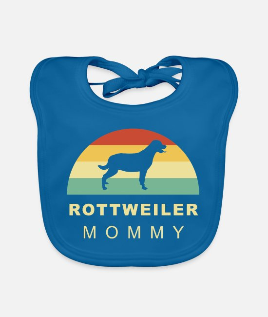 Male Puppy Dog Puppy Baby Bibs - Cool retro vintage Rottweiler dog mom - Baby Bib peacock-blue