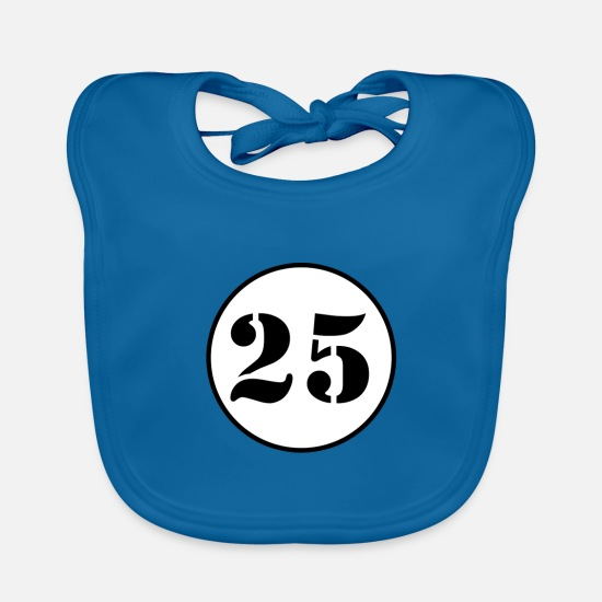 Number Baby Clothes - NUMBER 25 - Baby Bib peacock-blue