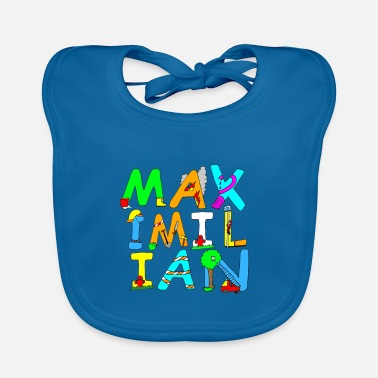 Maximilian's name in cool fire brigade letters - Baby Bib