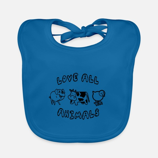 Love Baby Clothes - love ALL animals vegan - Baby Bib peacock-blue