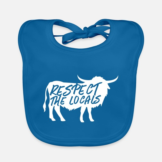 Scotland Baby Clothes - Respect the locals highland coo - Baby Bib peacock-blue