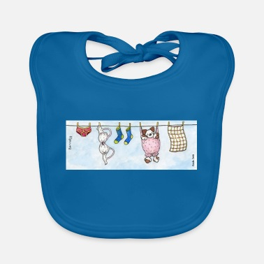 Long Underwear Mug - Cute Fluffy Dog 'Barnaby' on a Washing Line - Baby Bib