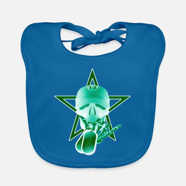 Skull Star Tag Black Green - Babero