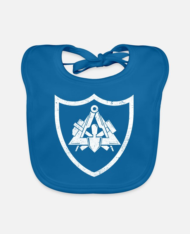 Craft Occupation Job Work Baby Bibs - Masons guild symbol emblem in used grunge look - Baby Bib peacock-blue