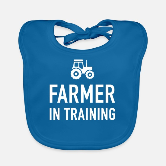 Farmer Baby Clothes - Funny Gift For Farm Kids - Baby Bib peacock-blue