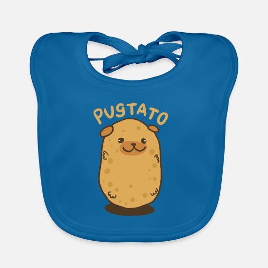 Pug Baby Clothes - Pugtato potato dog - gift - Baby Bib peacock-blue