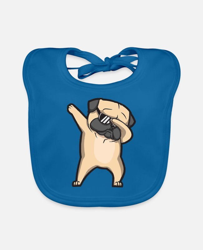 Cats And Dogs Collection Baby Bibs - dabbing pug - Baby Bib peacock-blue