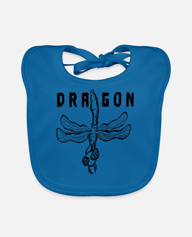 Heart Rate Baby Bibs - Dragonfly insect with dragon inscription - Baby Bib peacock-blue
