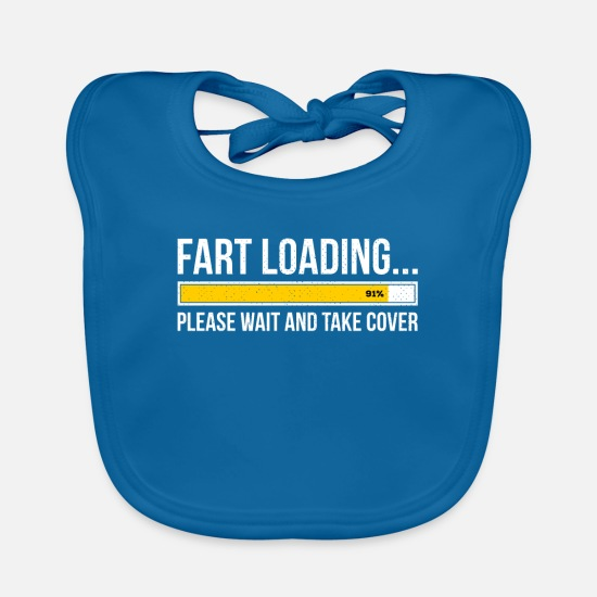 Pet Baby Clothes - Fart Loading Please Wait and Take Cover Funny Gift - Baby Bib peacock-blue