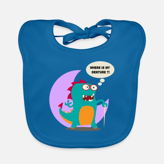 Animal Baby Clothes - Where is my Denture Doodle Art - Baby Bib peacock-blue