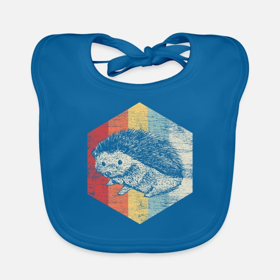 Forest Animal Baby Clothes - Hedgehog Cute animal - Baby Bib peacock-blue