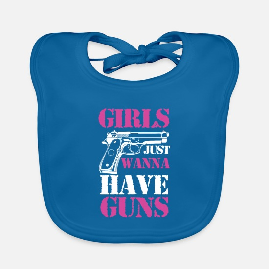 Birthday Baby Clothes - Girls just wanna have guns gift - Baby Bib peacock-blue