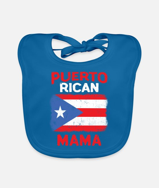 Flag Baby Clothes - Womens Puerto Rico Boricua Mama Flag Mothers Day - Baby Bib peacock-blue