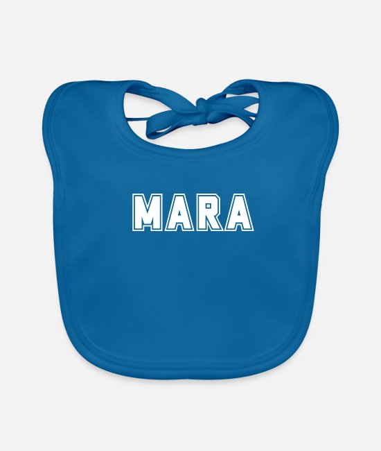 First Name Baby Bibs - College Mara first name baby name maiden name gift - Baby Bib peacock-blue