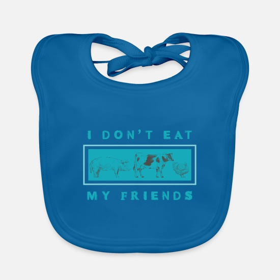 Vegetarian Baby Clothes - vegetarian - Baby Bib peacock-blue