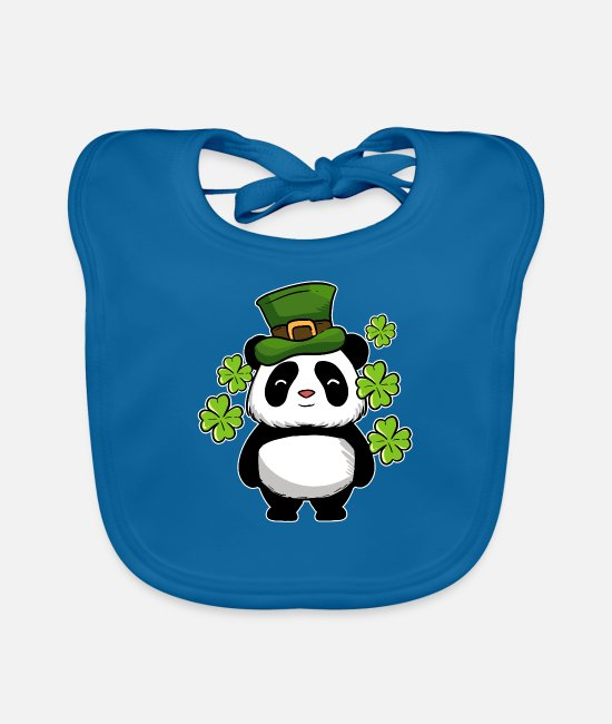 st patricks day Baby Clothes - St Patrick's Day Panda Bear Ireland Drunk Paddy - Baby Bib peacock-blue
