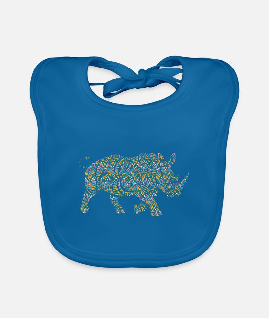 Rhinoceros Baby Clothes - Rhino culture - Baby Bib peacock-blue