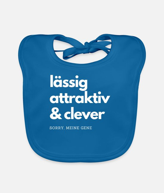 Attractive Baby Bibs - Lässog, attractive and clever T-Shit my genes - Baby Bib peacock-blue