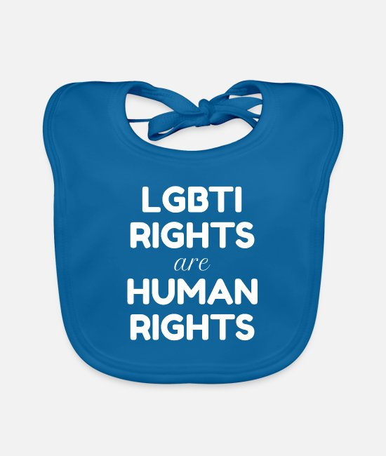 Gay Pride Baby Bibs - LGBTI Rights are Human Rights - white text - Baby Bib peacock-blue