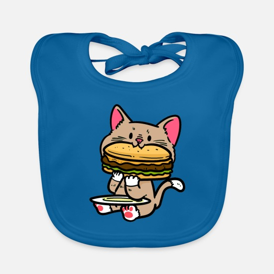 Dogs Baby Clothes - Little cute cat with burger - Baby Bib peacock-blue