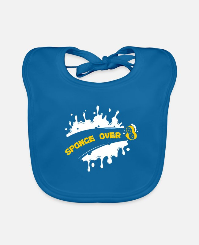 Sponge Over Baby Bibs - Cleaning Rinse Housekeeping Washing Sponge Over - Baby Bib peacock-blue