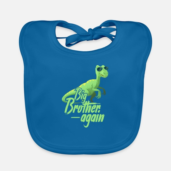 Birthday Baby Clothes - Big Brother - Baby Bib peacock-blue