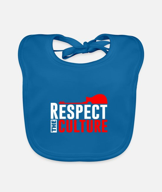 Rastafari Baby Clothes - Respect the culture - Baby Bib peacock-blue