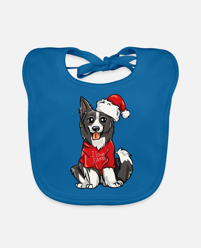 Border Collies Baby Bibs - Border Collie Christmas Santa Claus I Love - Baby Bib peacock-blue