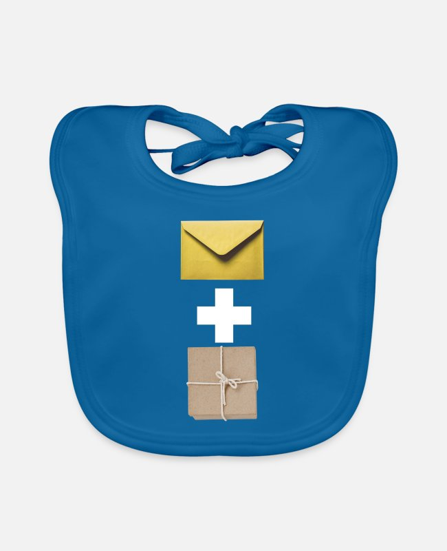 German Postal Service Baby Bibs - Mail and parcel courier. Workshirt illustration - Baby Bib peacock-blue