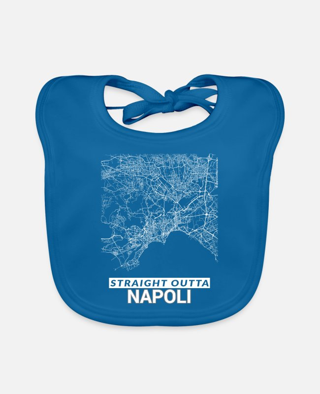 Cartography Baby Bibs - Straight Outta Napoli city map and streets - Baby Bib peacock-blue