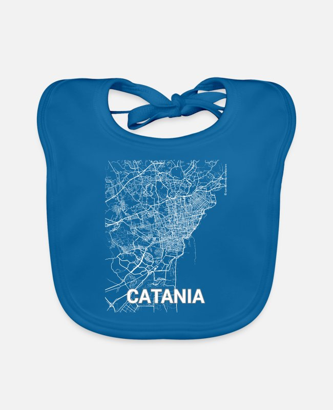 Cartography Baby Bibs - Catania city map and streets - Baby Bib peacock-blue
