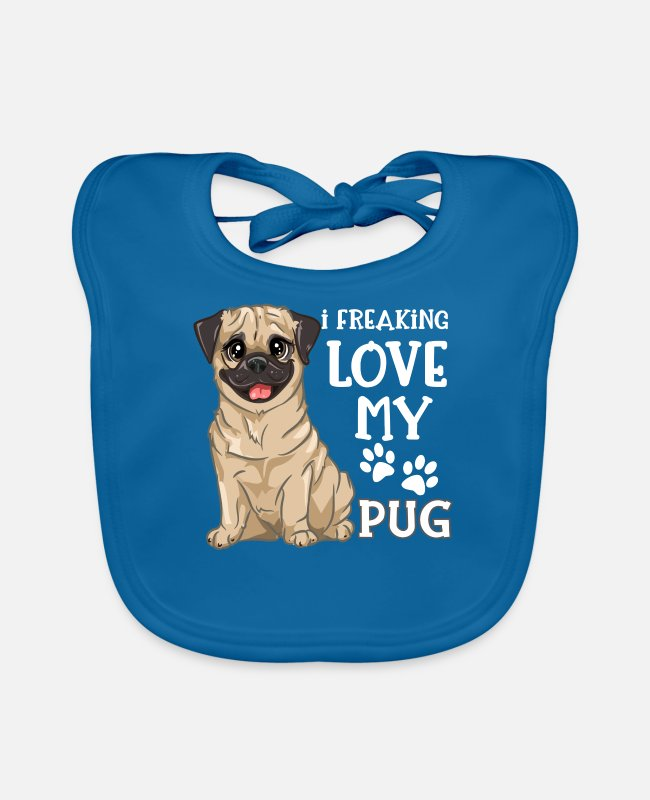 Purebred Dog Baby Bibs - Funny Pug Dog - I Freaking Love My Pug - Baby Bib peacock-blue