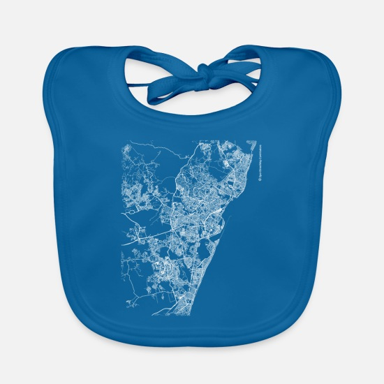 Cool Baby Clothes - Minimal Recife city map and streets - Baby Bib peacock-blue
